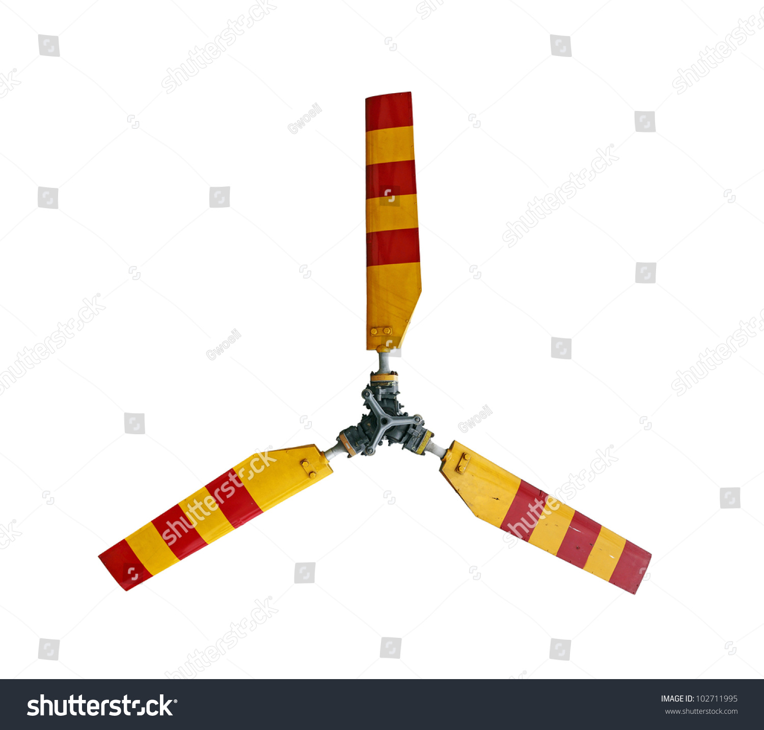 Five Blade Propeller Clip Art : A yellow and red striped propeller rotor blade of