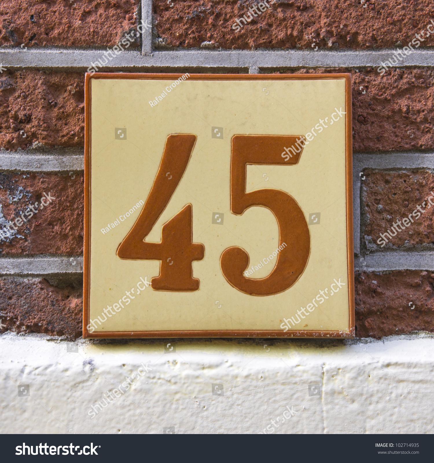 Ceramic Tile House Number Fortyfive Stock Shutterstock