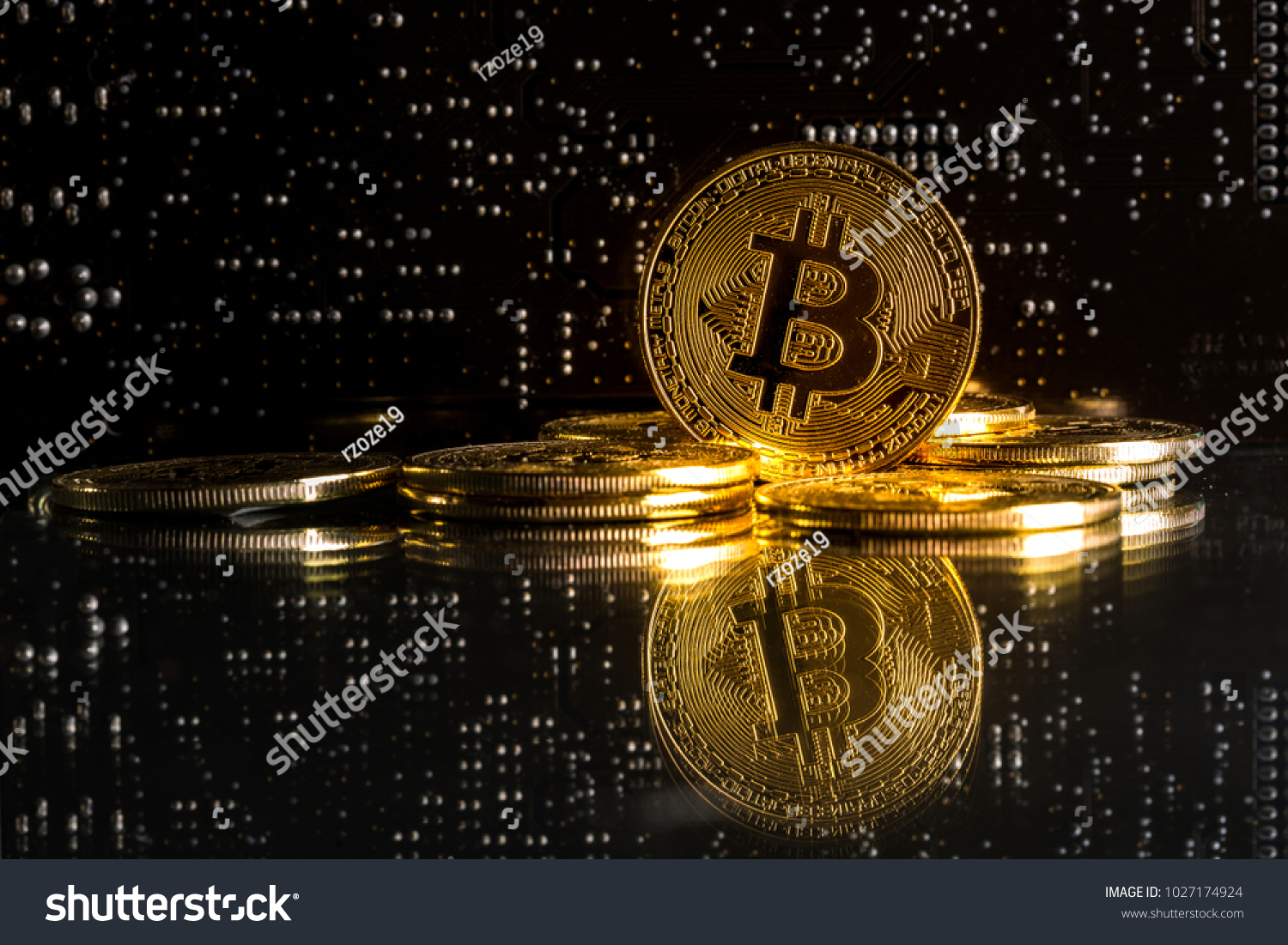 Bitcoin Coins Integrated Circuits Bitcoins Symbol Stock Photo Edit And As A Of Electronic Currency Shallow Depth