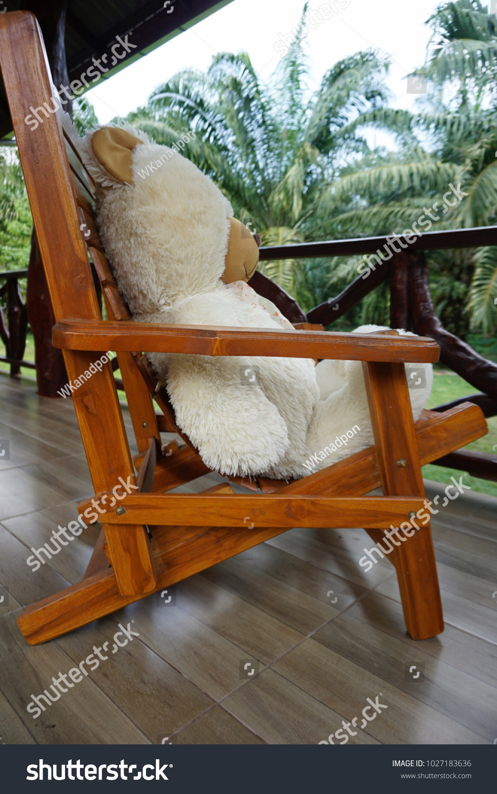 Picture of: Big White Teddy Bear Sitting Alone Stock Photo Edit Now 1027183636