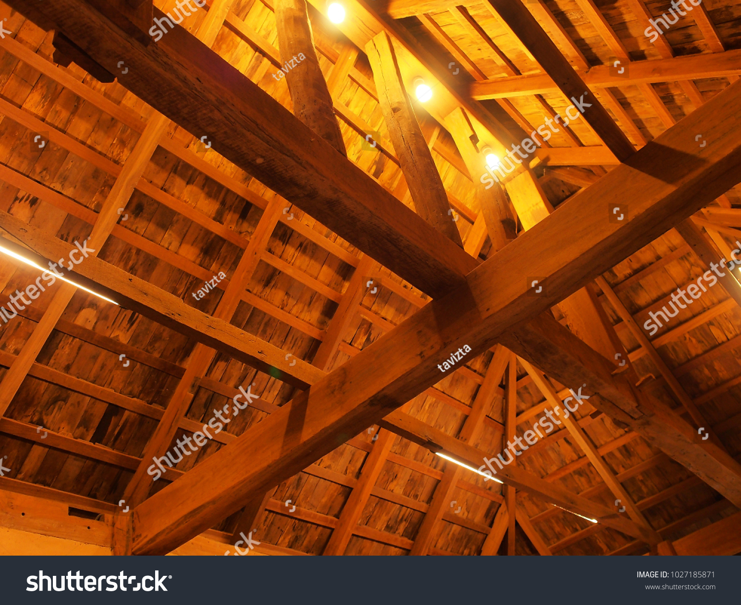 Background of thai roof structure inside house