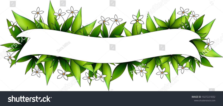 Holiday Ribbon Many Green Leaves White Stock Vector 1027221832