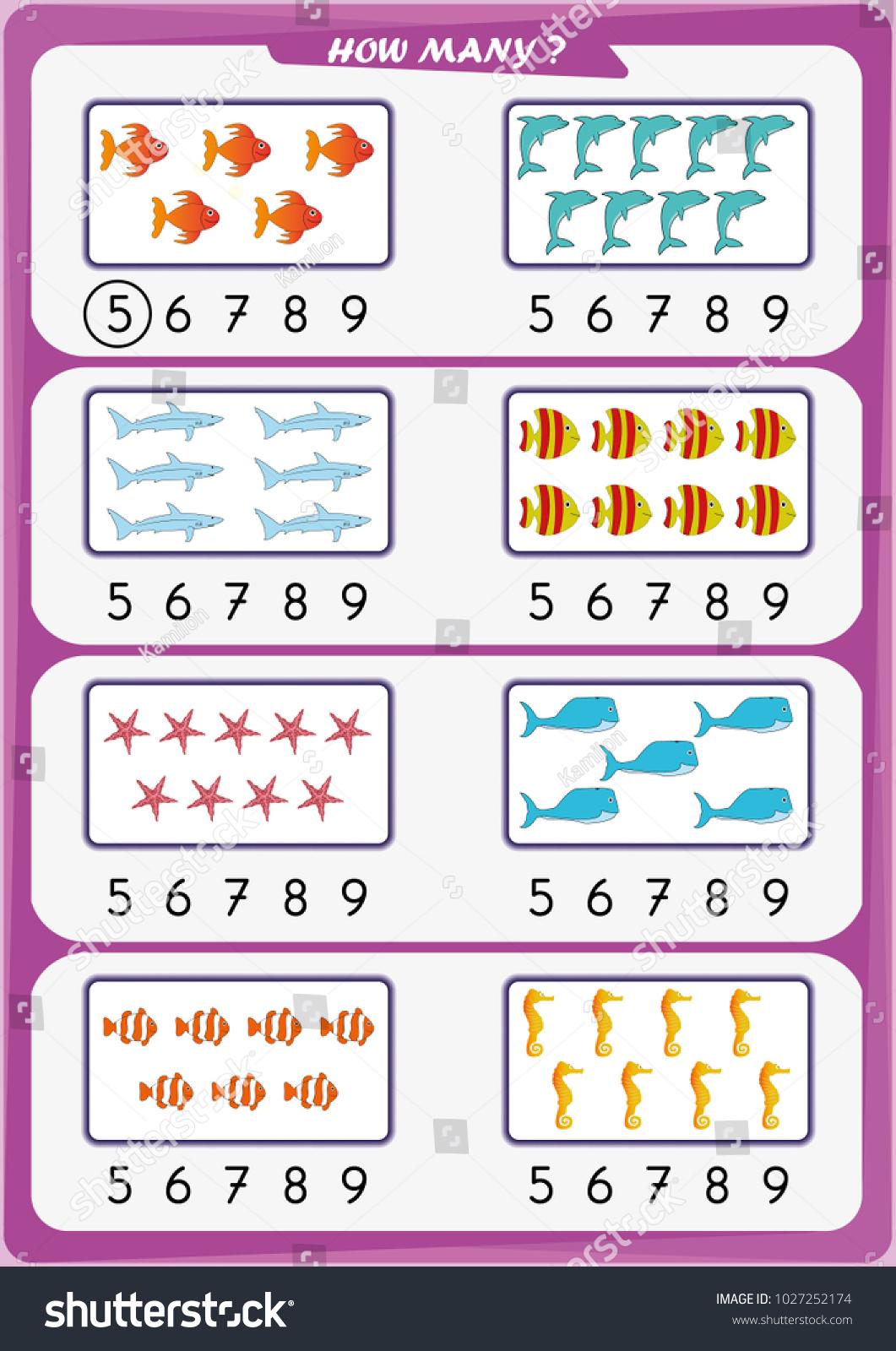 Worksheet Kindergarten Kids Count Number Objects Stock Vector ...