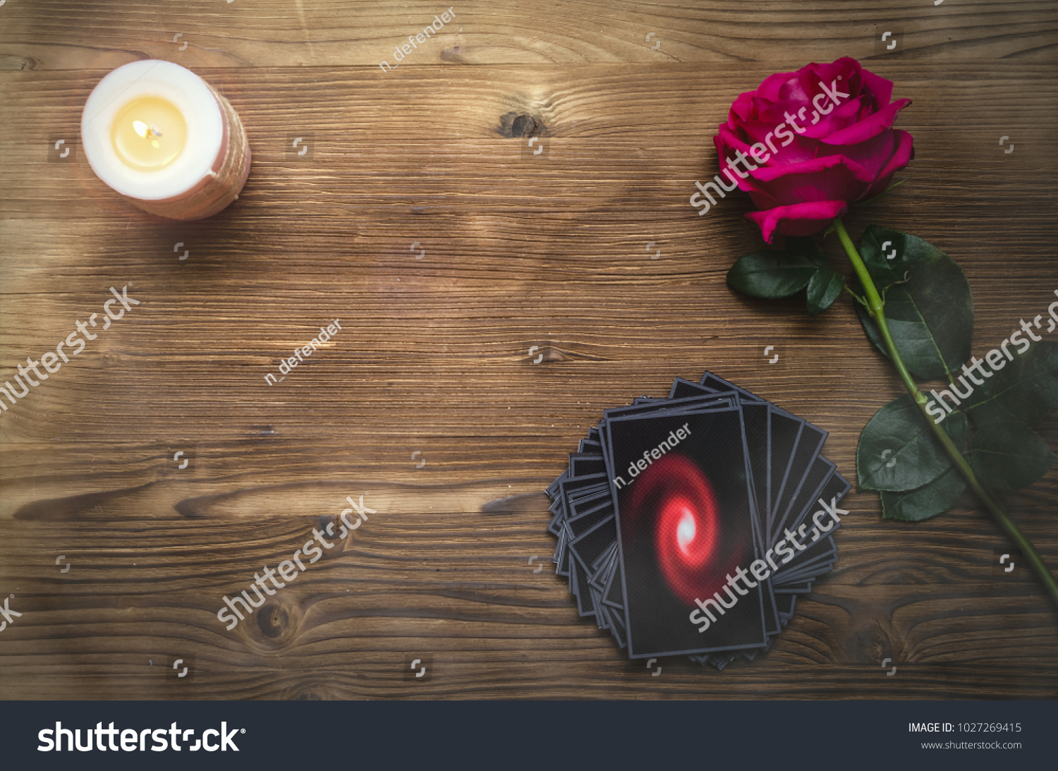 Tarot Cards Rose Flower On Fortune Stock Photo (Edit Now) 1027269415