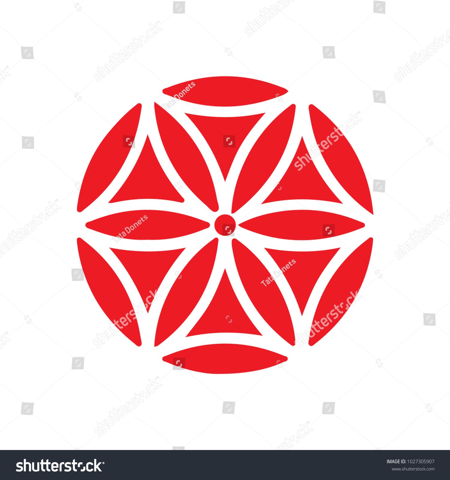 Vector Symbol Flower Aphrodite Geometric Rose Stock Vector Royalty