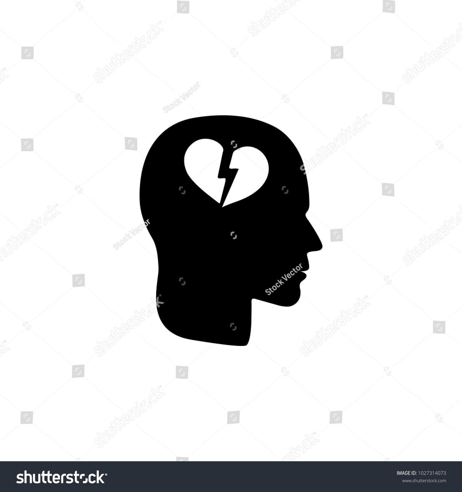 Broken heart head icon illustration psychological stock a broken heart in the head icon illustration of psychological disorder of people icon biocorpaavc Images