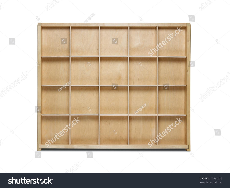 Empty Wooden Bookshelf Isolated On White Stock Photo ...