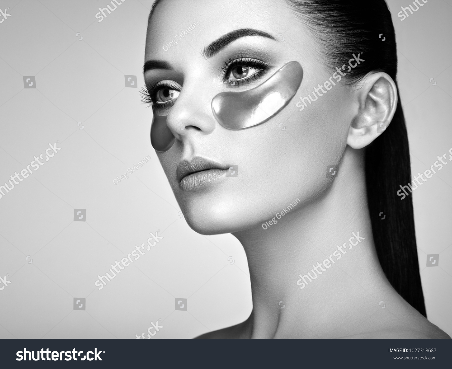 Portrait Of Beauty Woman With Eye Patches Woman Beauty Face With