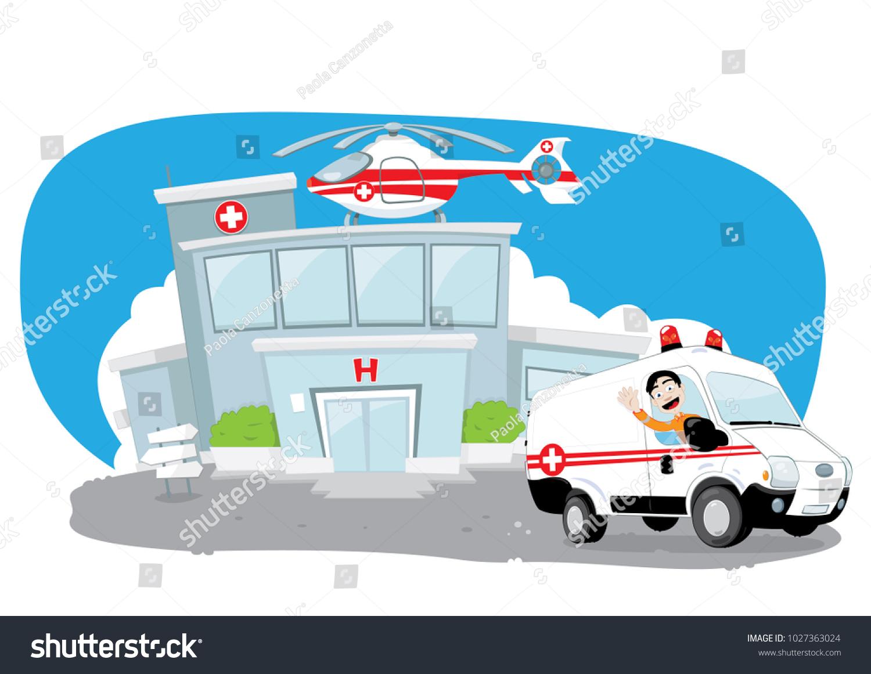 Funny Cartoon Hospital Pics vector cartoon representing funny hospital building stock
