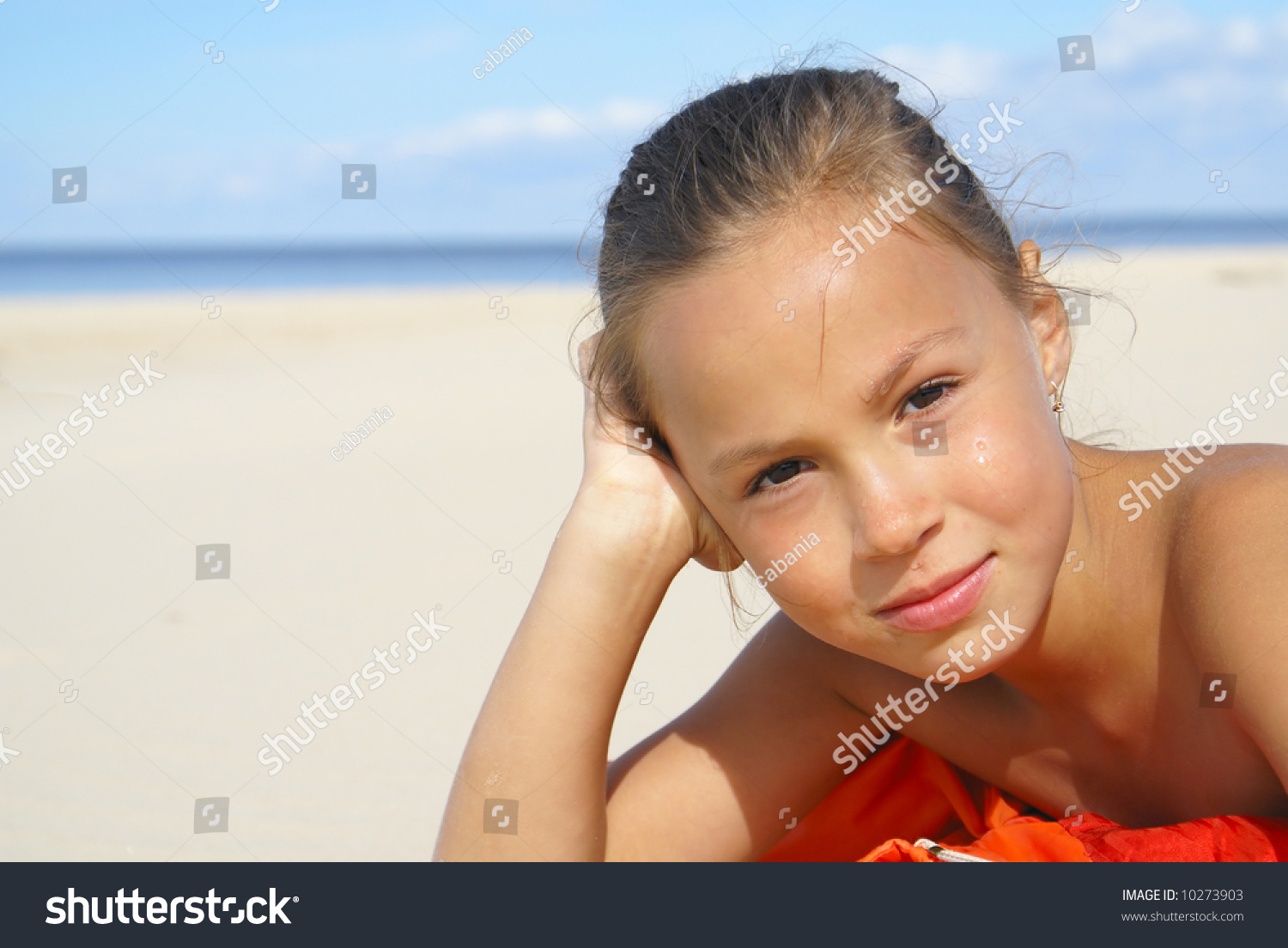 Cute Girl at Beach stock photo. Image of innocent, happy