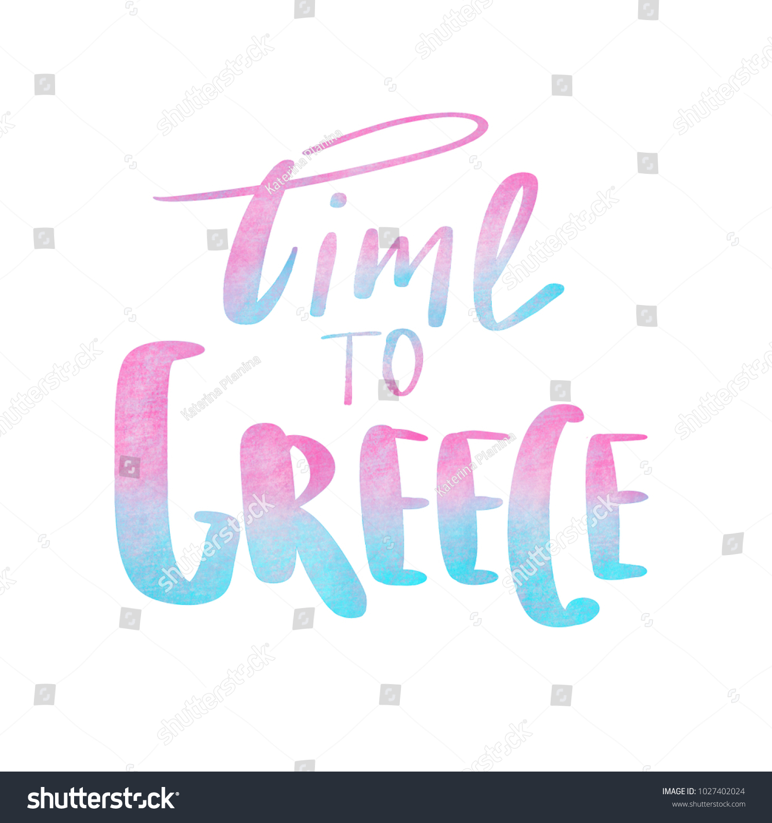 Lettering Time Greece Duotone Colors Stock Illustration 1027402024