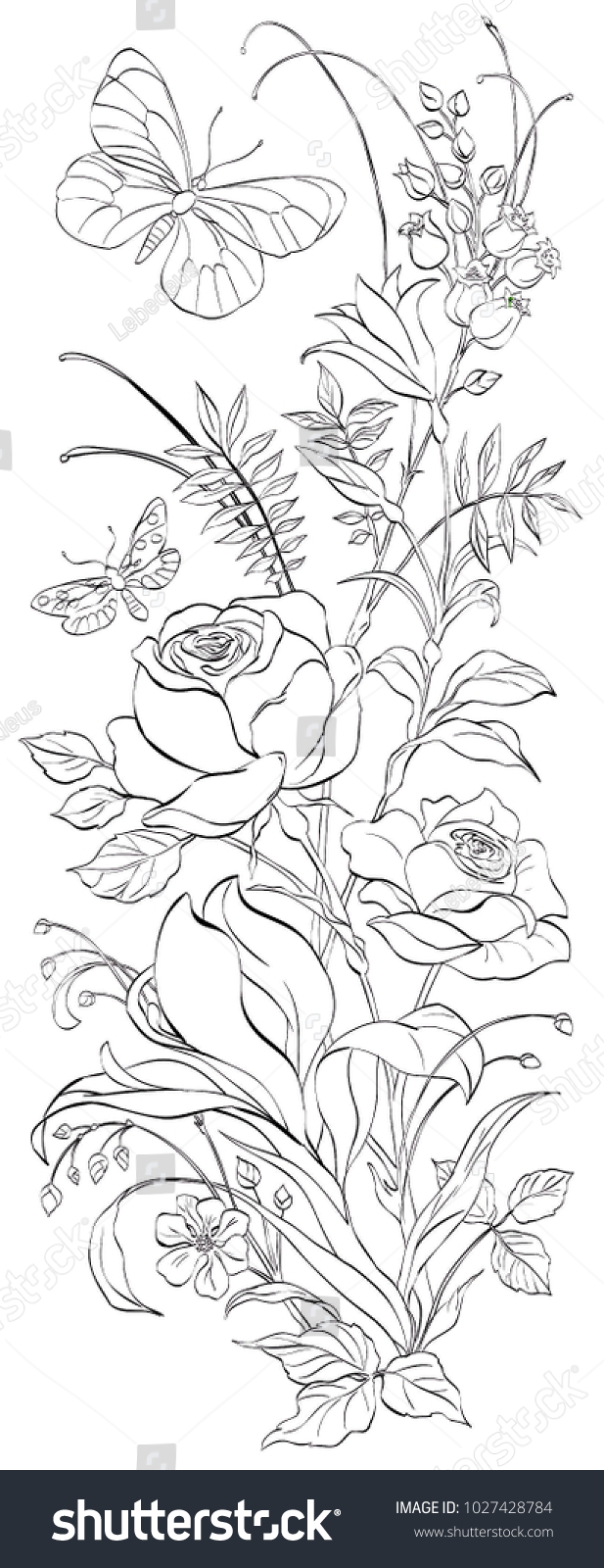 Vector outline bouquet roses irises bell stock vector royalty free vector outline bouquet of roses irises and bell flowers with butterflies line art coloring izmirmasajfo