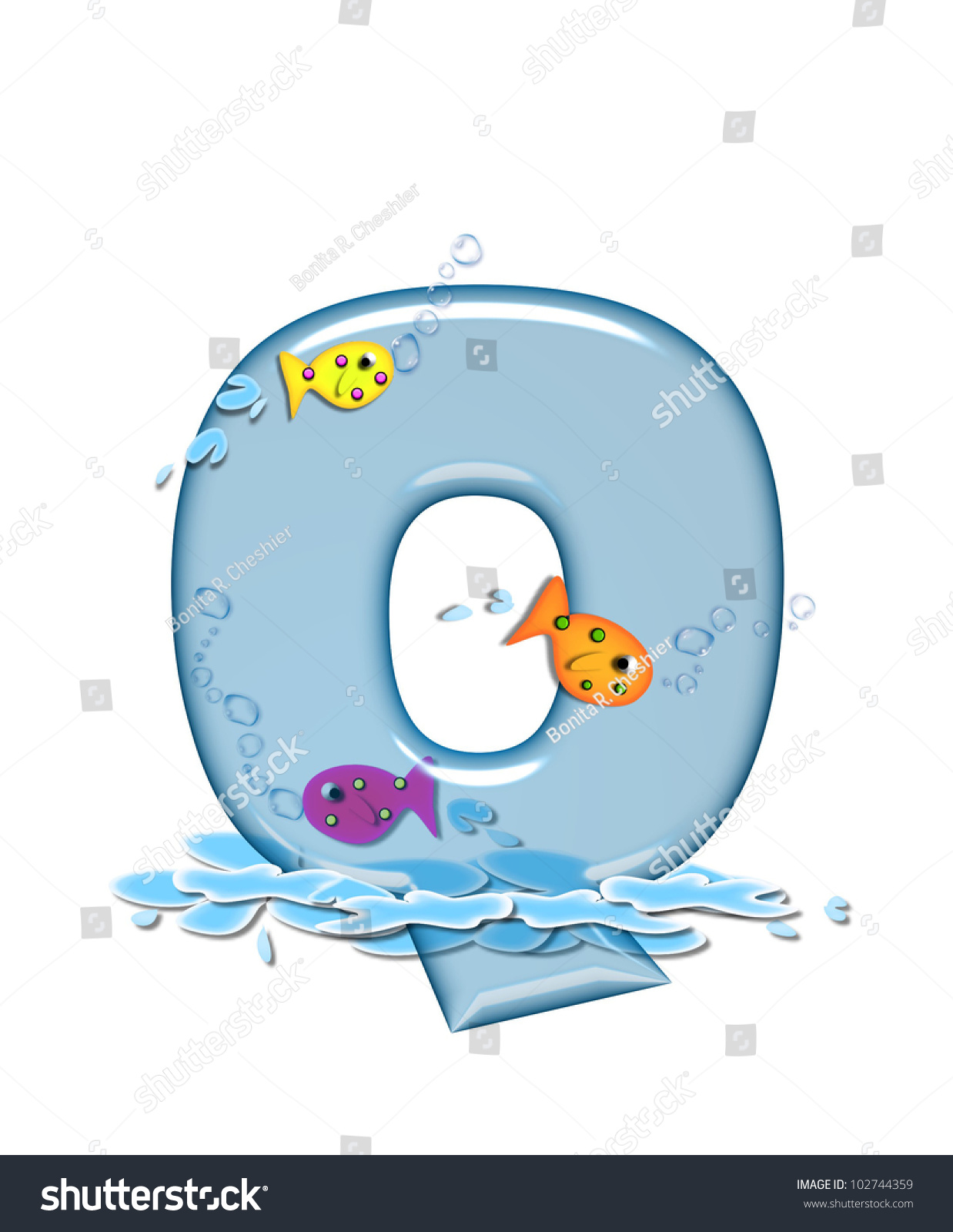 The letter Q, in the alphabet set Fish Flop, is aqua in color and