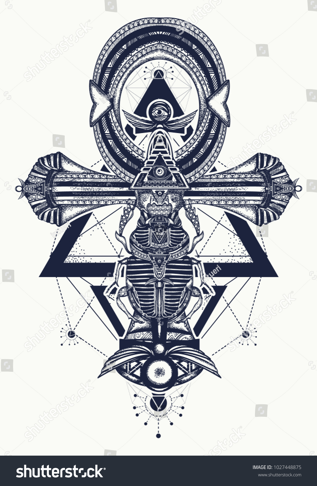 Ankh Symbol Eternal Life Tattoo Key Stock Vector Royalty Free