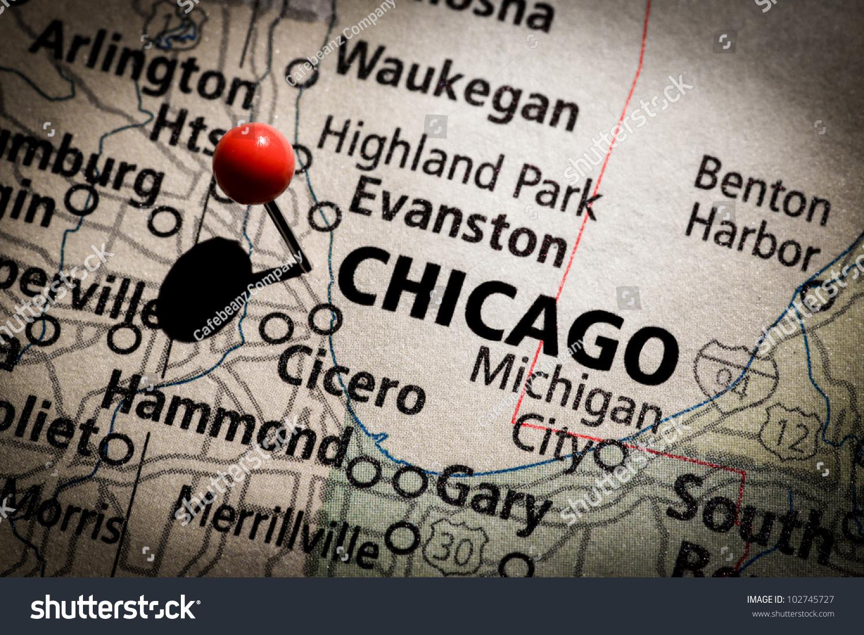Chicago Map Stock Photo Shutterstock Chicago Map Evanston