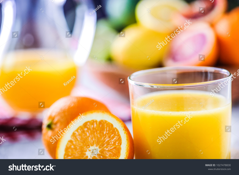 Orange Juice Jar Tropical Fruits Juice Stock Photo Edit Now 1027478830
