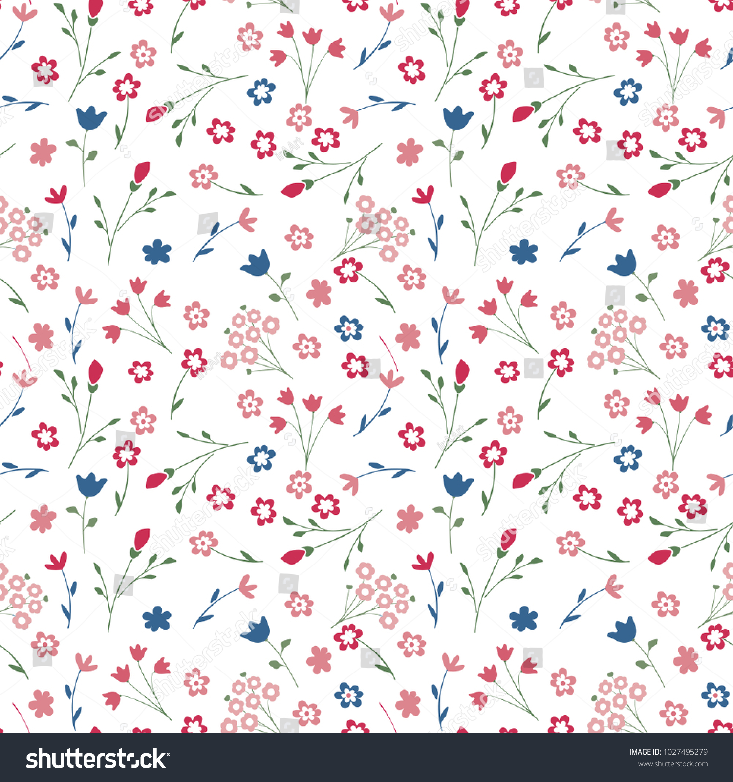 Cute Seamless Floral Pattern Simple Flowers Stock Vector Royalty
