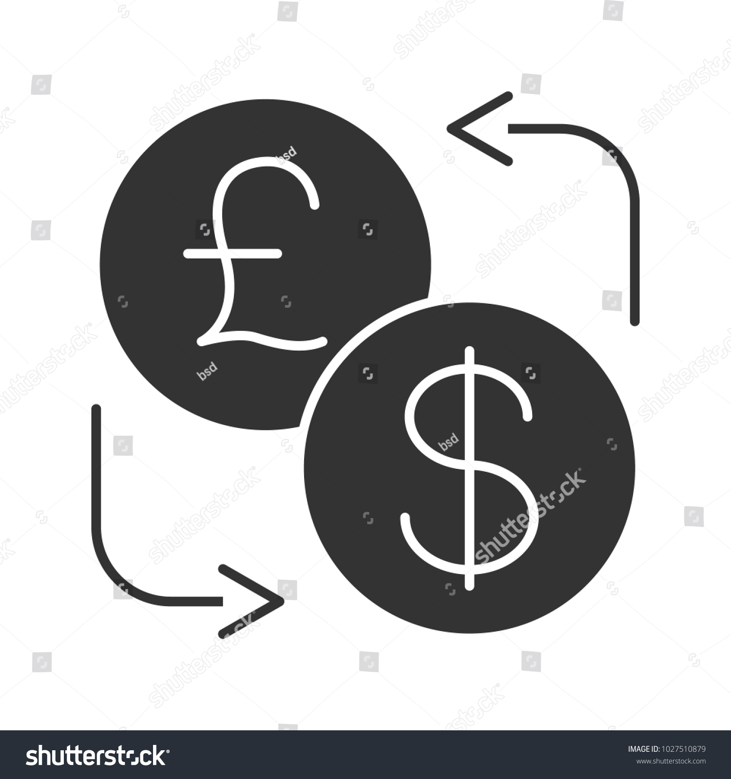 Dollar British Pound Currency Exchange Glyph Stock Vector Royalty