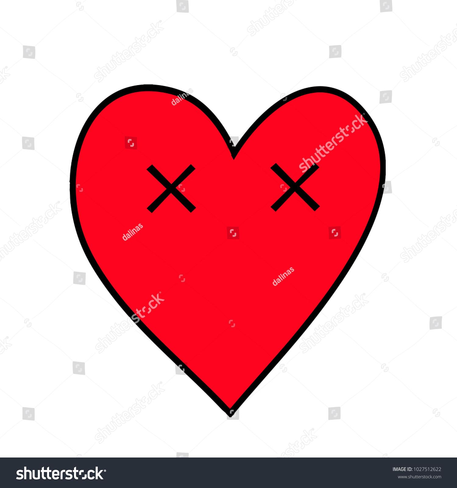 Dead Hdead Heart Heart Emoticon Emoji Stock Vector 1027512622