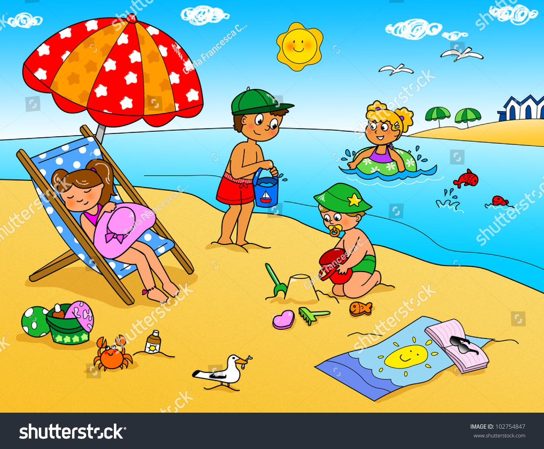 Children Playing Sand Beach Summer Holidays Stock