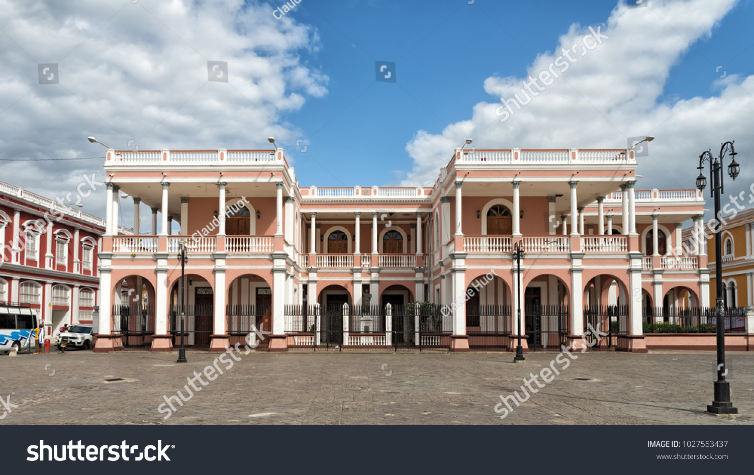 GRANADA, NICARAGUA - JANUARY 23, 2018: The Bishop's Palace (Palacio Episcopal) was constructed in 1913 by the Cardenal family and donated to the bishop of Granada who used it as his residence in 1920.