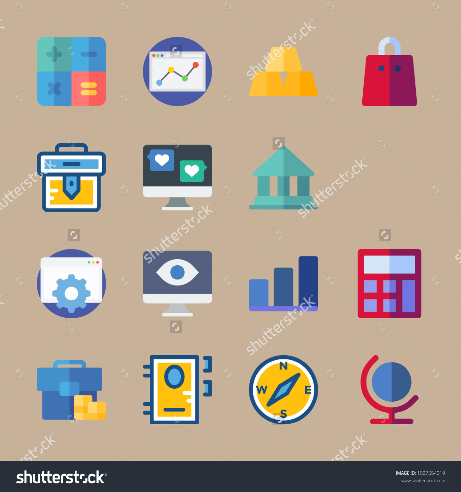 Icons business bar chart exchange calculator stock vector 1027554019 icons business with bar chart exchange calculator briefcase and compass ccuart Gallery