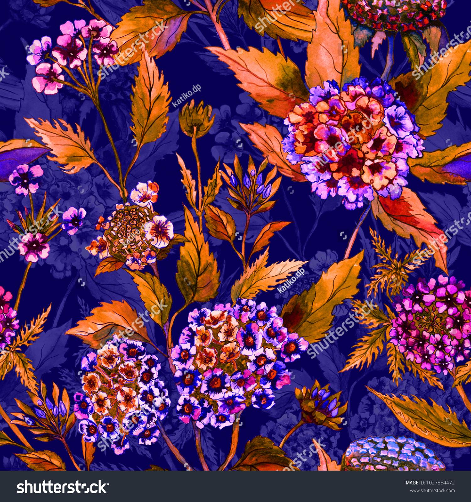 Beautiful Bright Flowers Orange Leaves On Stock Illustration
