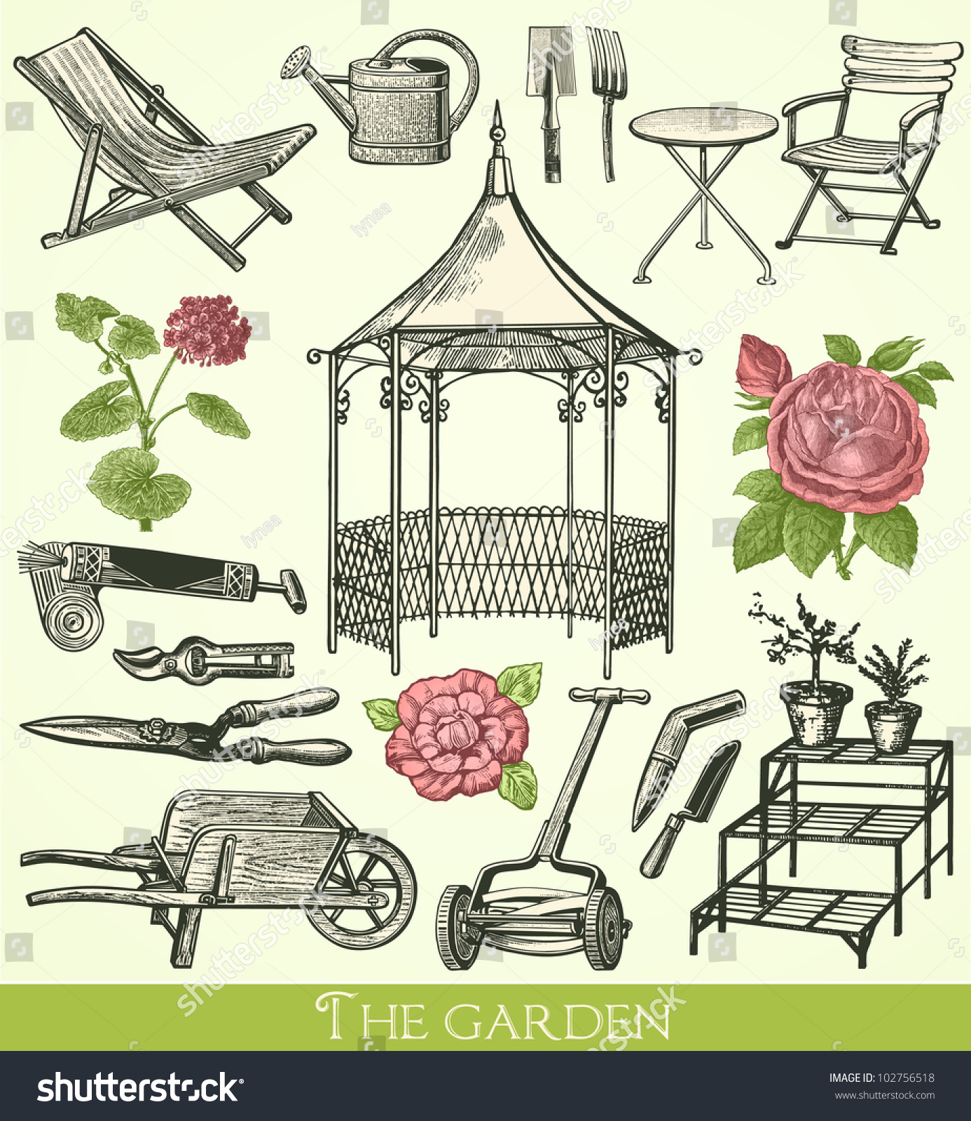 Garden Vintage Engraved Illustration Catalog French Stock Vector