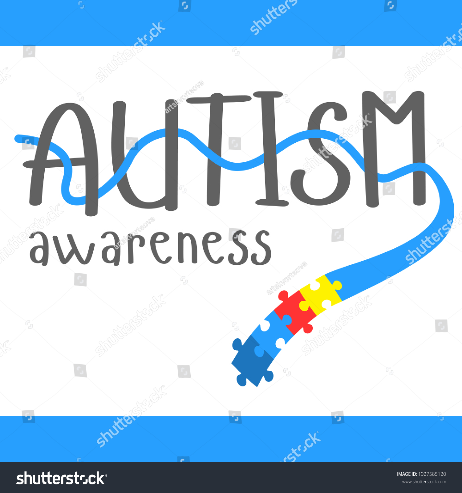 World autism awareness day blue ribbon stock vector 1027585120 world autism awareness day blue ribbon with colorful puzzles vector background symbol of autism biocorpaavc