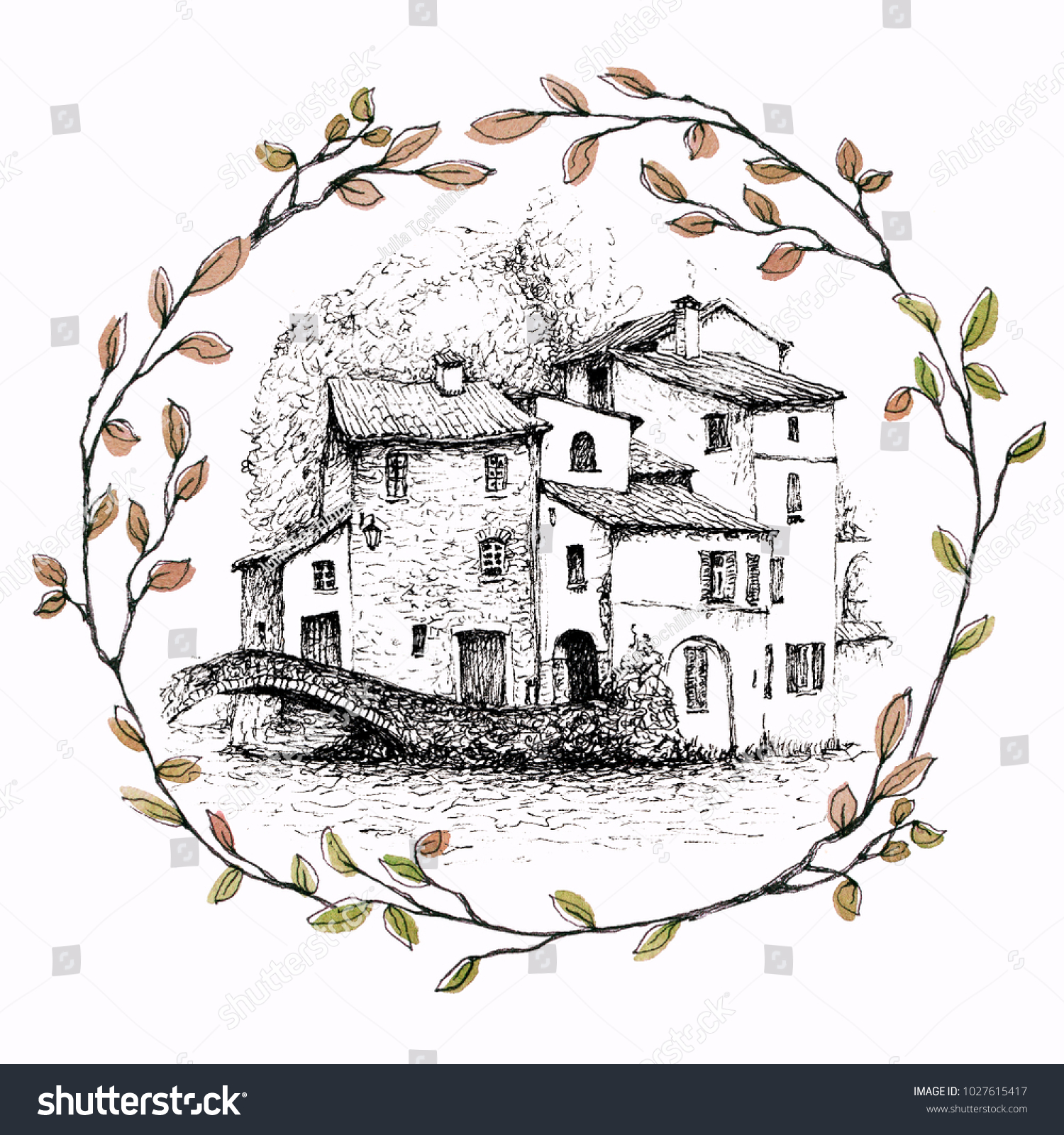 A pen sketch of italian landscape a village on a lake called como in