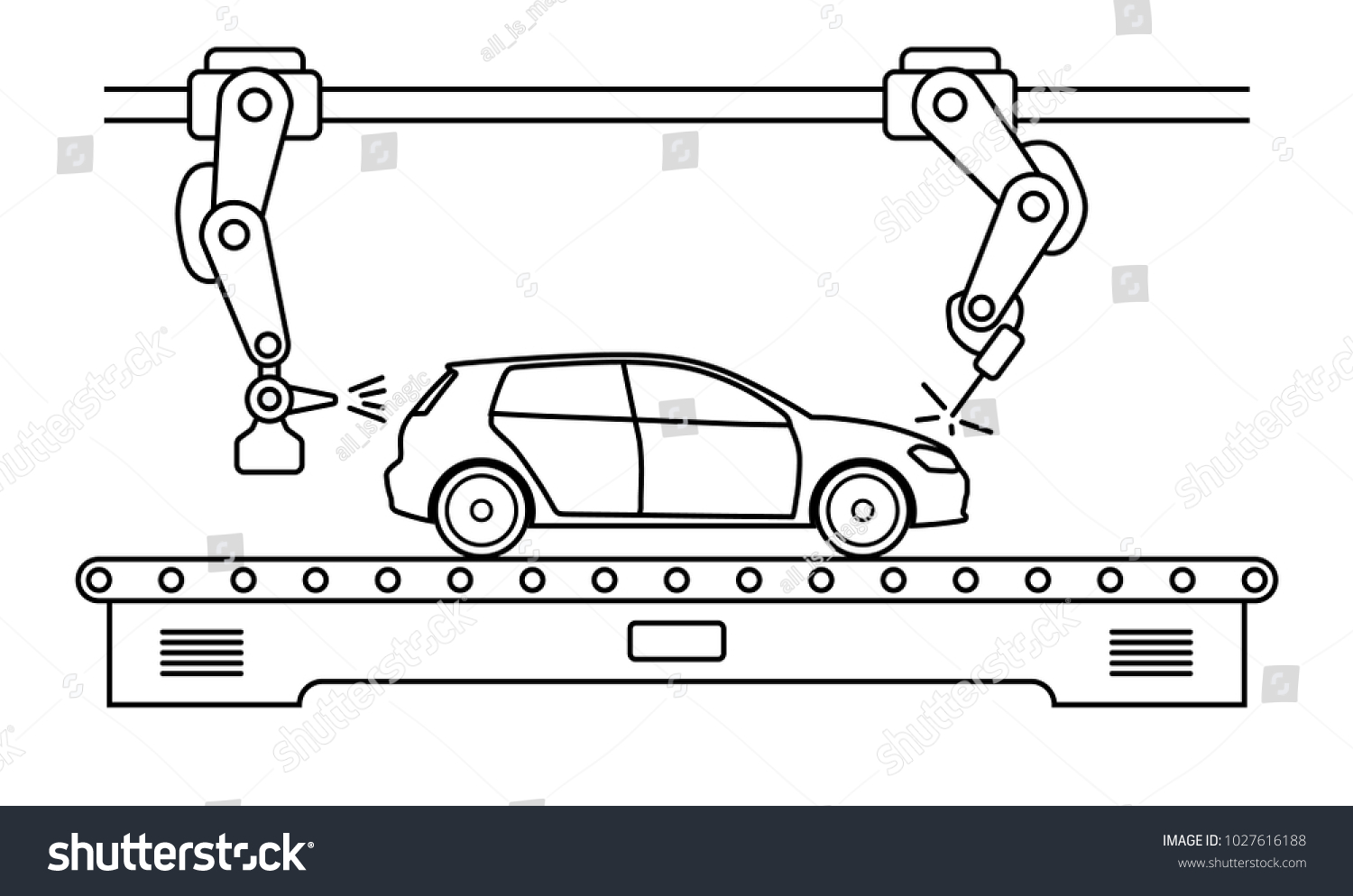 Thin Line Style Car Assembly Line Stock Photo (Photo, Vector ...