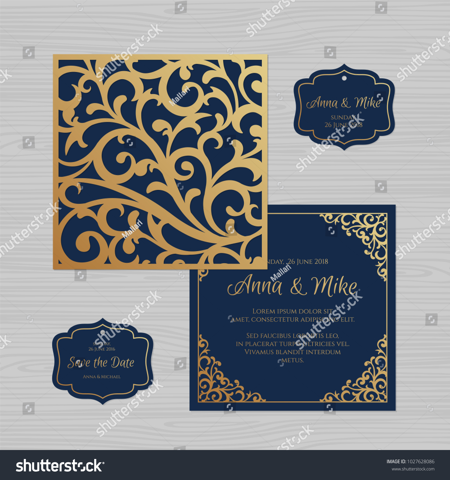 wedding invitation greeting card vintage ornament stock vector
