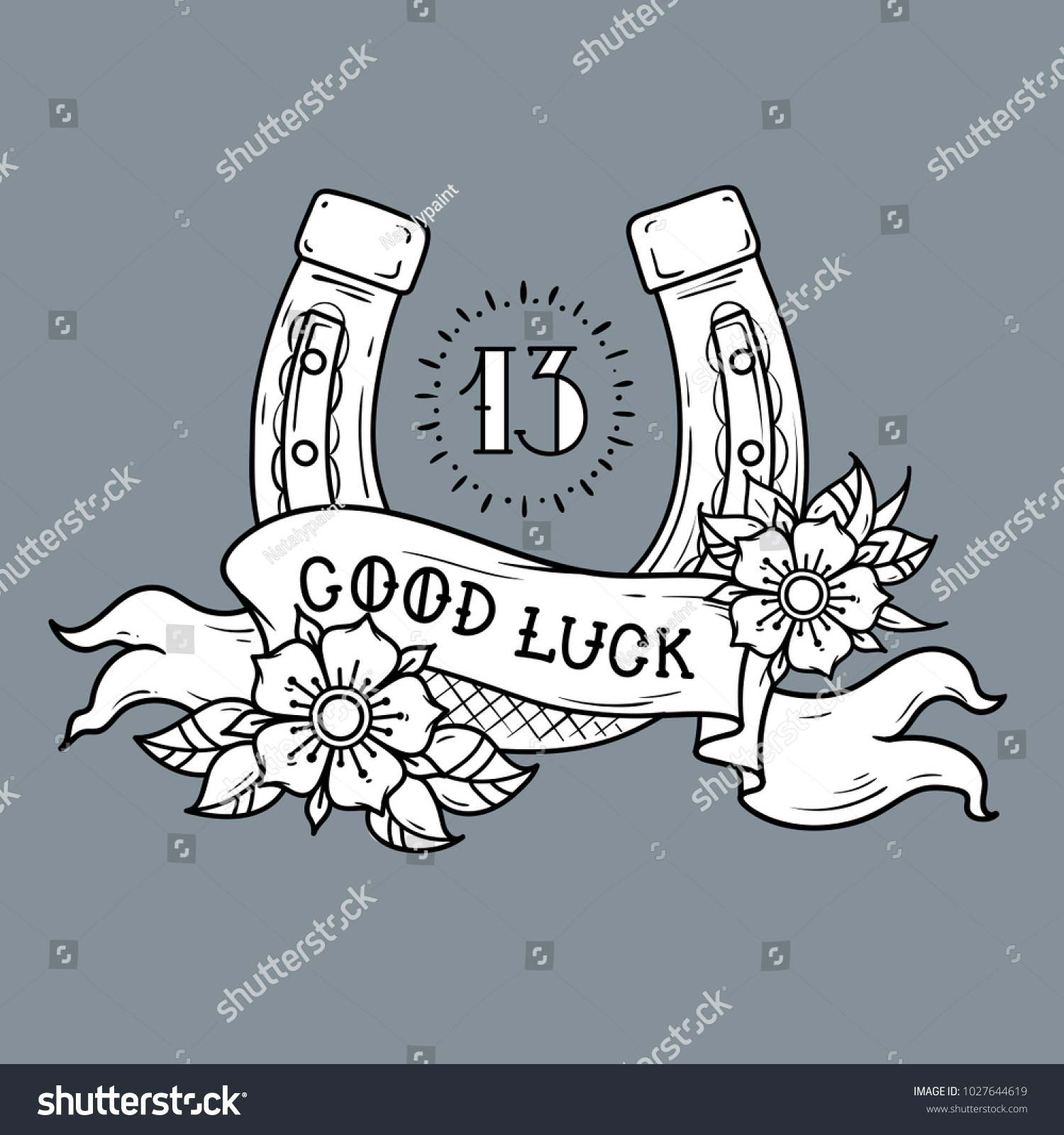 Tattoo gold horseshoe flowers mystical number stock vector tattoo gold horseshoe with flowers mystical number 13 and ribbon with lettering good luck biocorpaavc Choice Image
