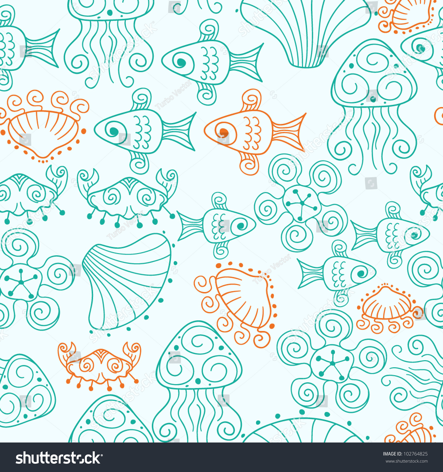 Unique Seamless Beach Pattern Fishes Shells Stock Vector