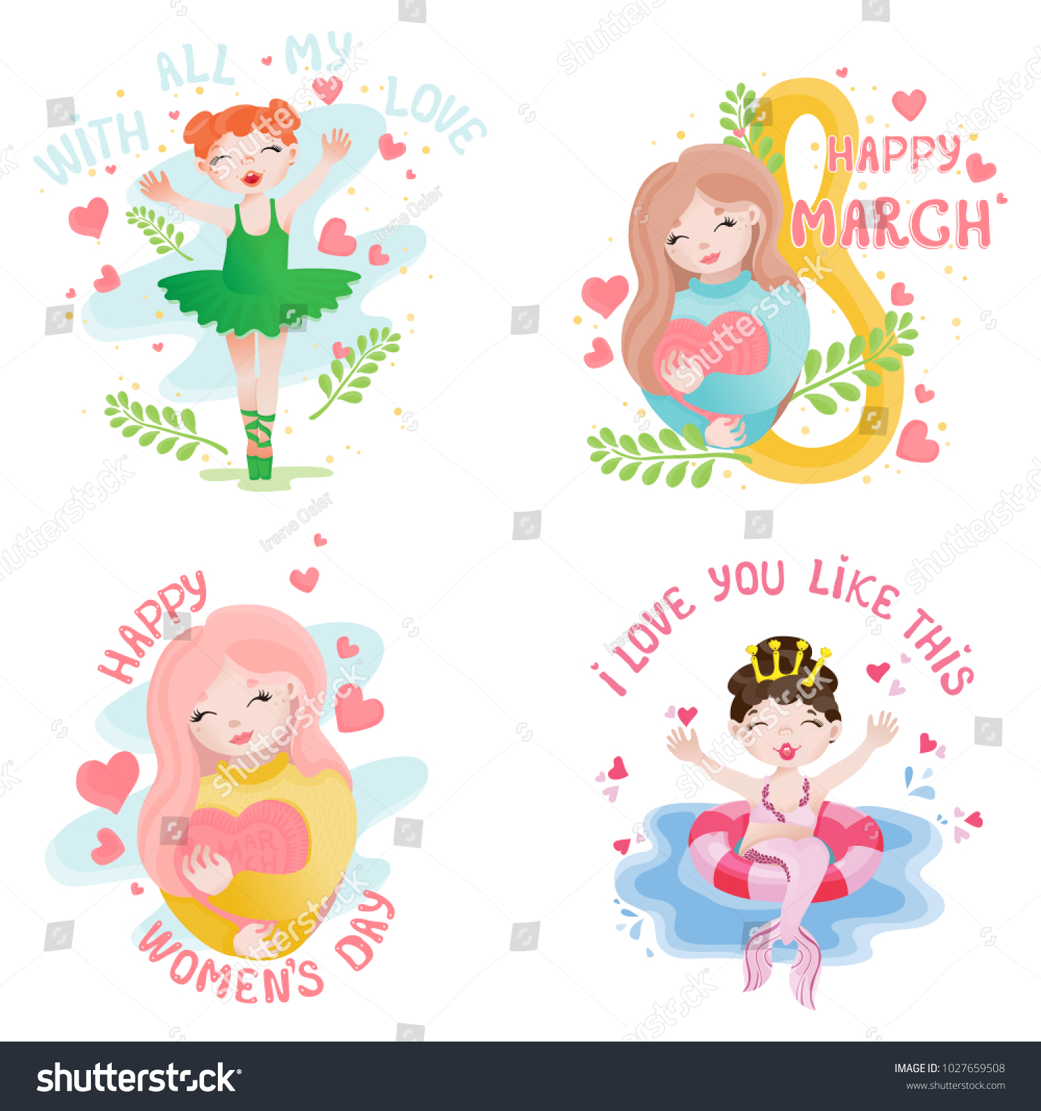 Four Vector Greeting Cards Womens Day Stock Vector Royalty Free