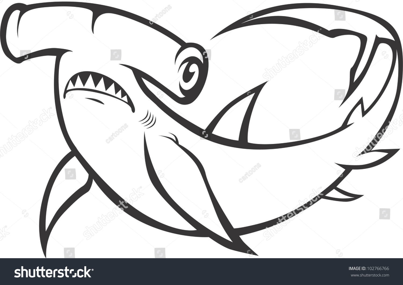 Creative Hammerhead Shark Illustration Stock Vector