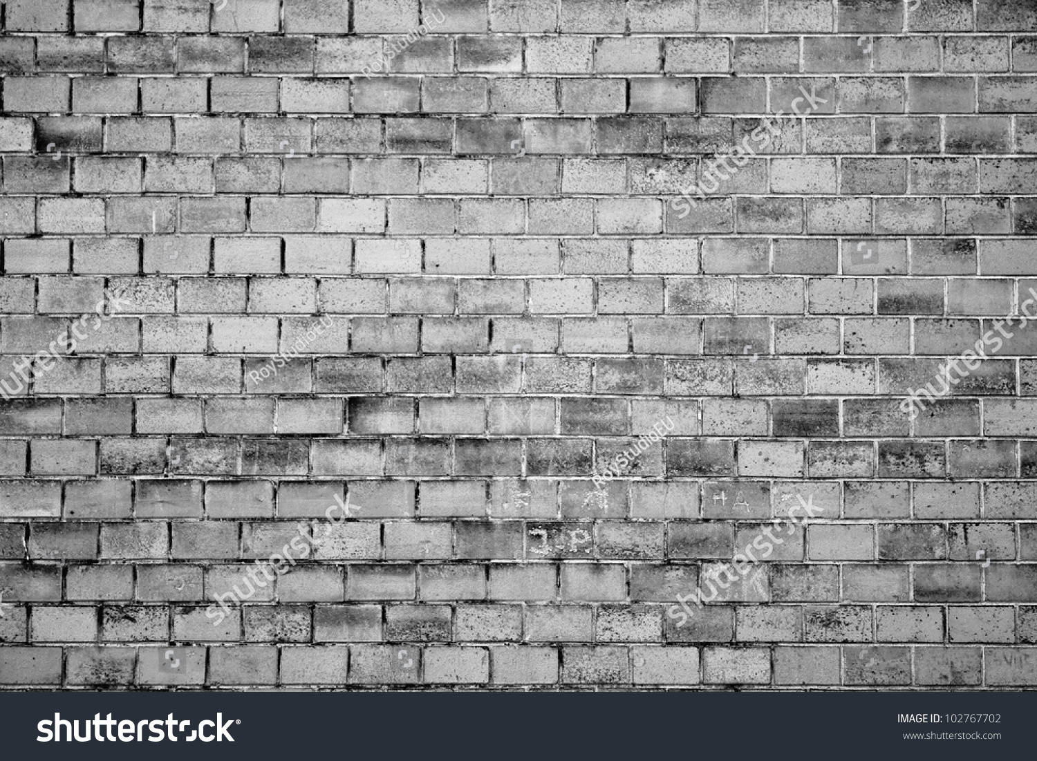Black And White Brick Wall Texture Grunge Background Stock