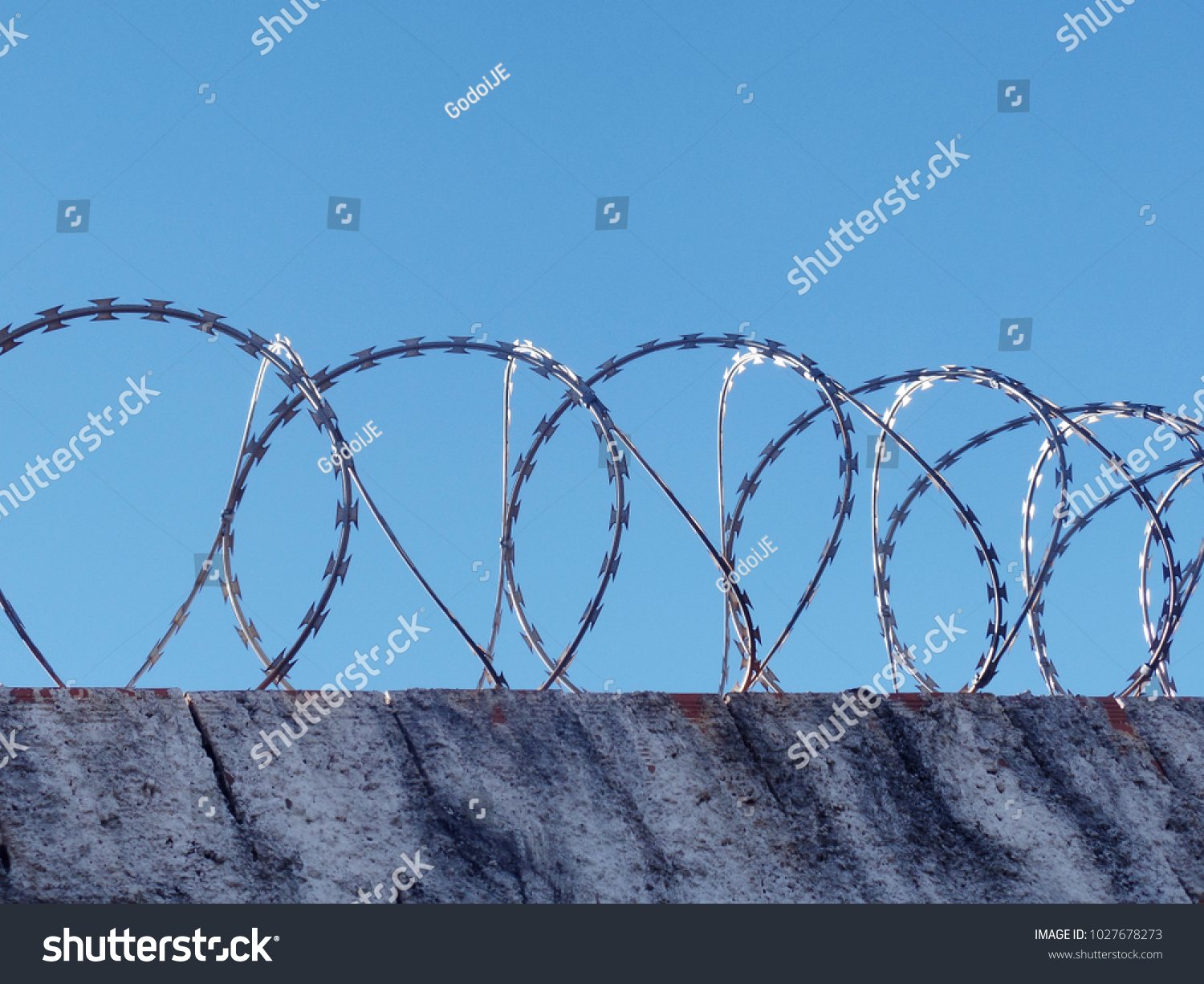 Safety Danger Wall Spiral Barbed Wire Stock Photo (Royalty Free ...