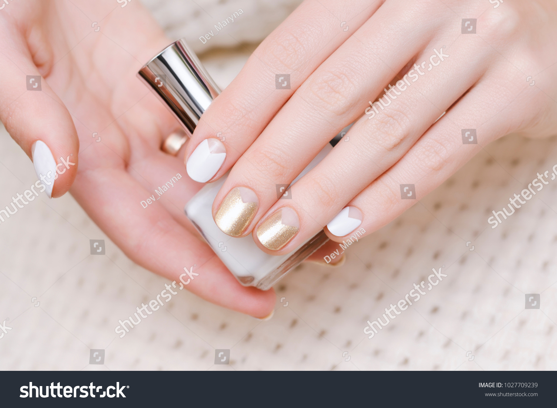 Female Hands White Gold Nail Design Stock Photo (Edit Now)- Shutterstock