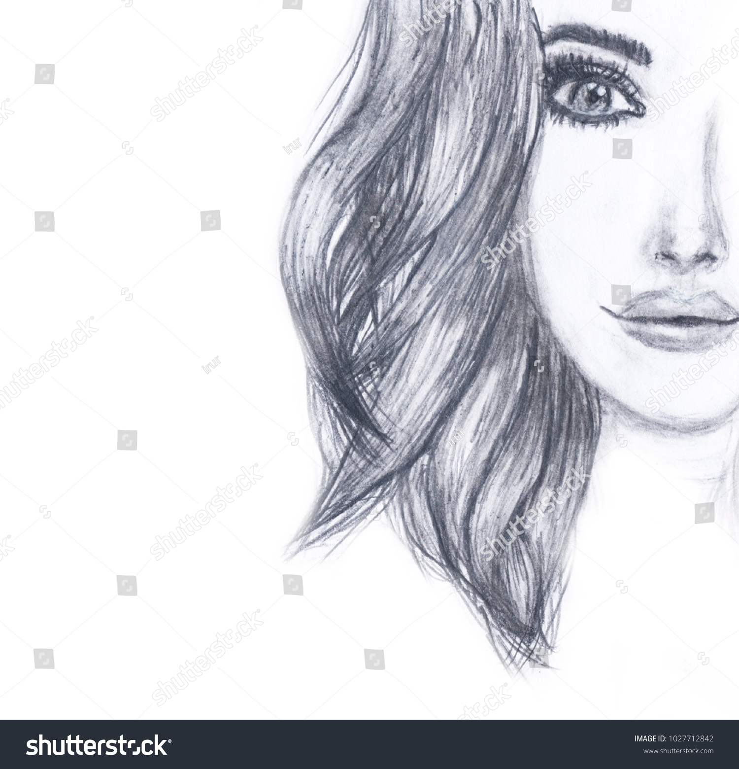 Portrait of a girls face pencil sketch fashion portrait of a young woman face