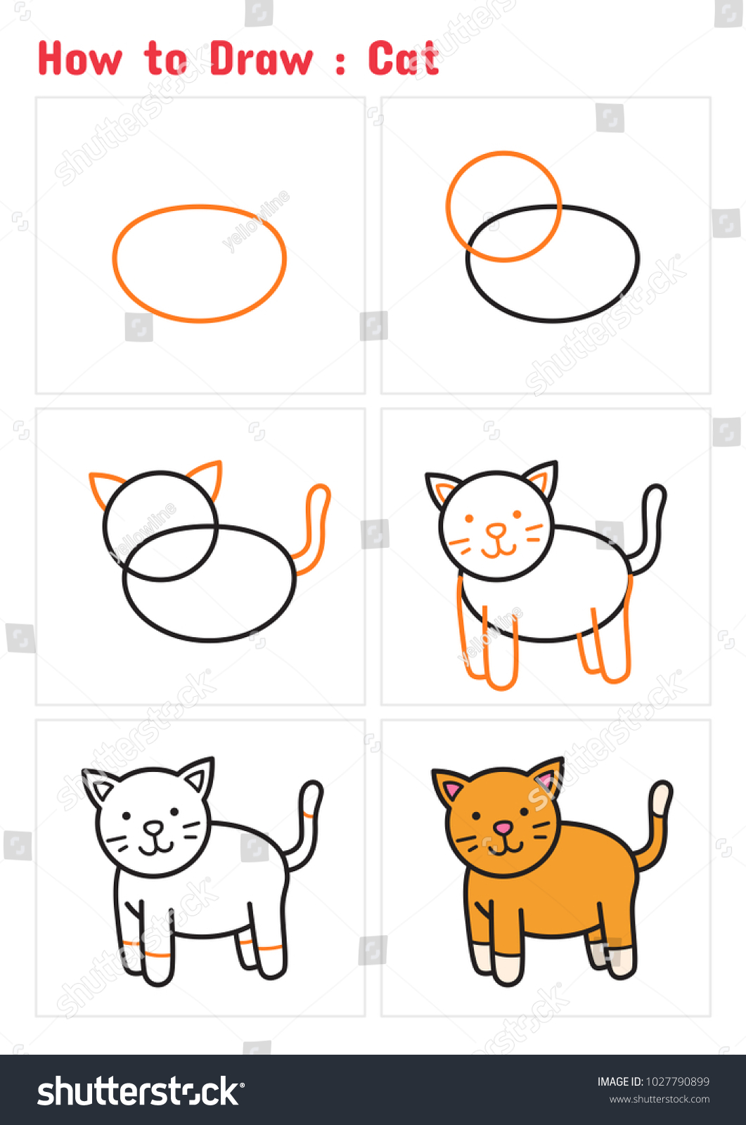 How to draw a cat step by step tutorial for children