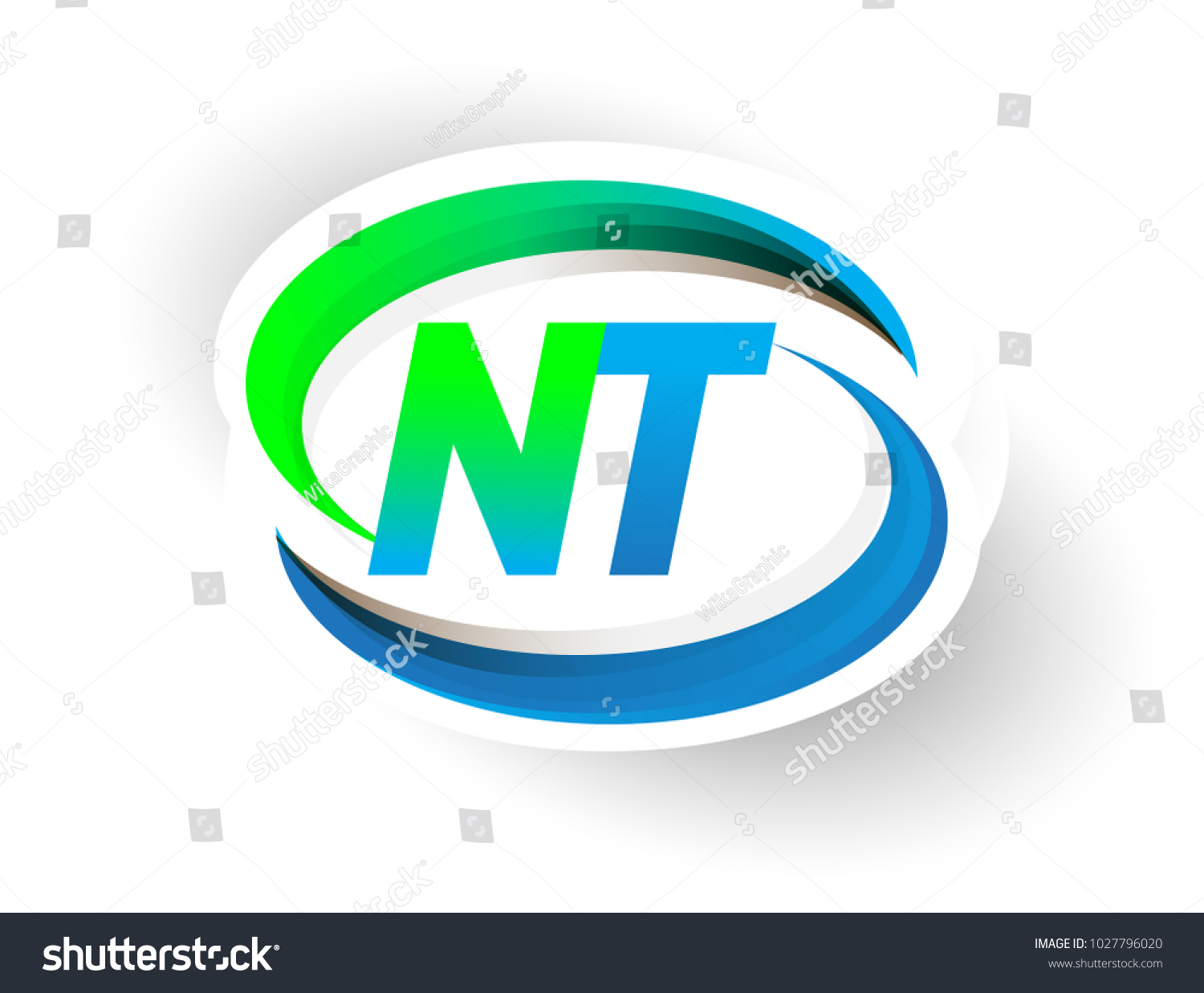 Initial Letter Nt Logotype Company Name Stock Vector 1027796020