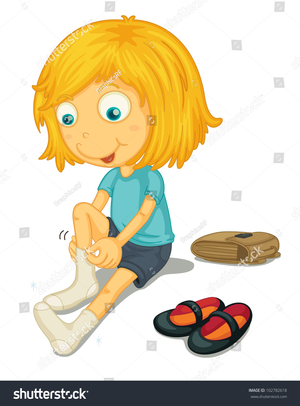 Illustration Girl Putting On Shoes Eps Stock Illustration ...