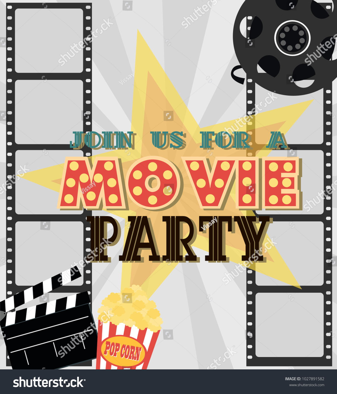 Invitation Movie Party Hollywood Party Poster Stock Vector ...