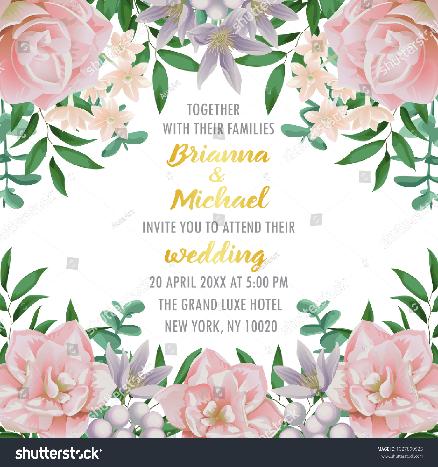 Floral Wedding Invitation Flowers Herb Bushes Stock Vector ...