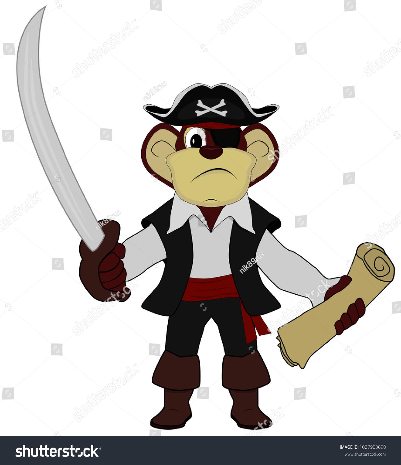 Vector Clipart - Pirate monkey. Vector Illustration gg63733500 - GoGraph