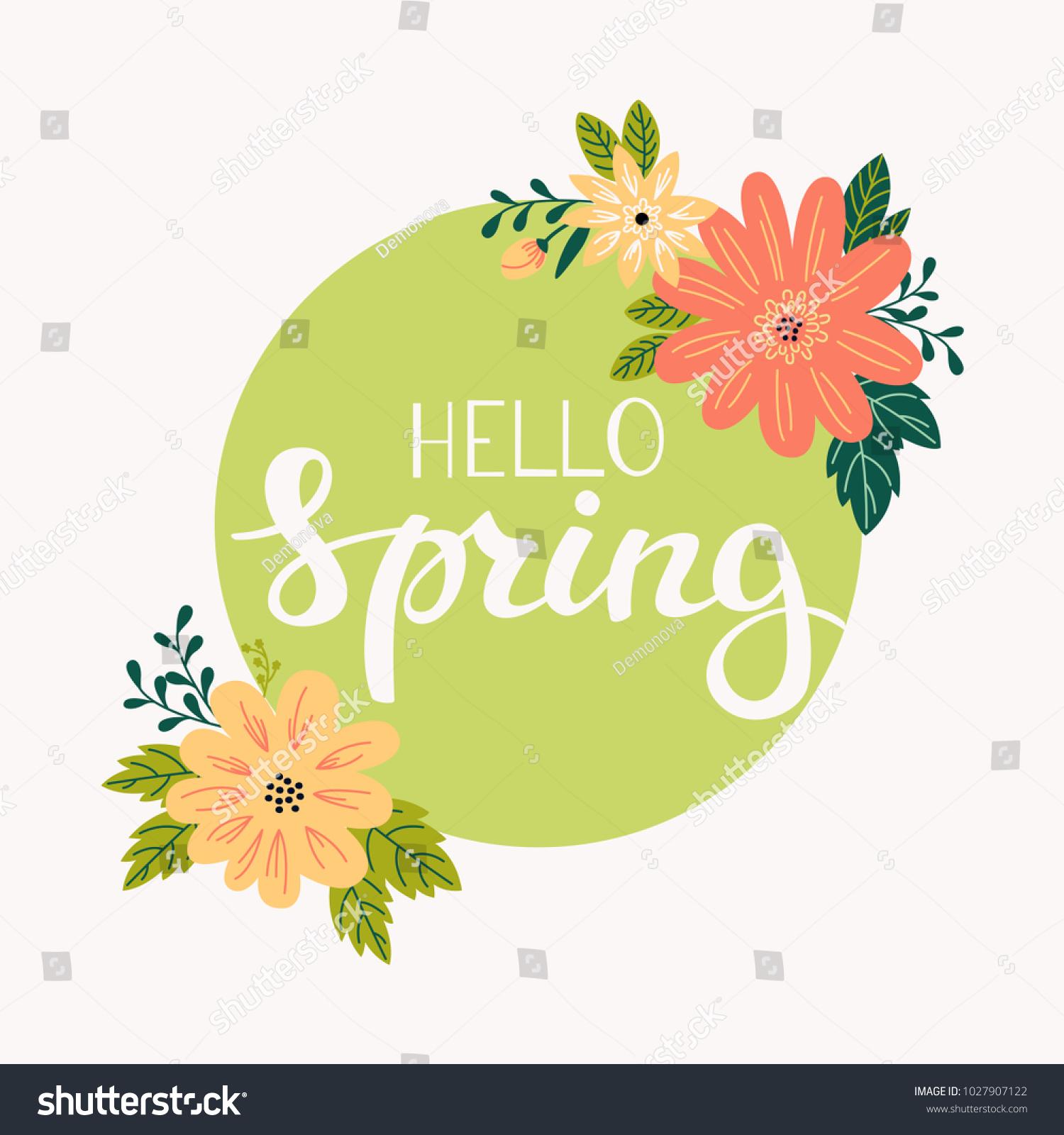 Hello Spring Greeting Card Circle Frame Stock Vector Royalty Free