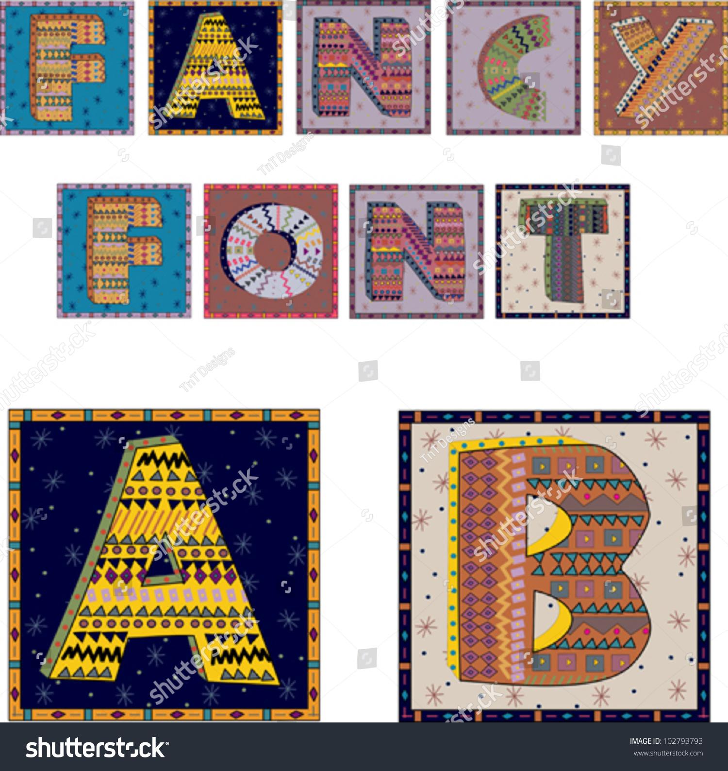 Decorative Letters Fancy Decorative Font Patterned 3d Letters Stock Vector 102793793