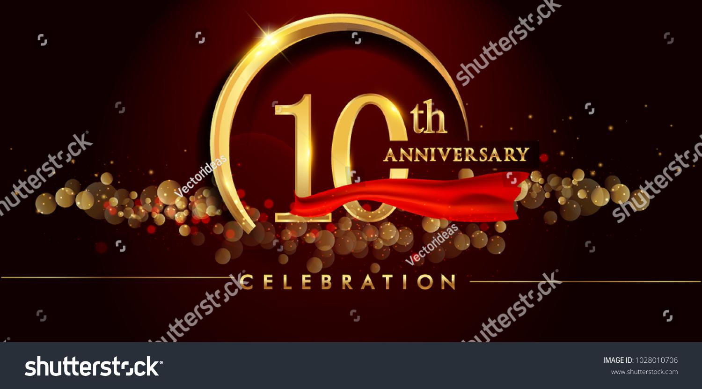 10th Anniversary Logo Golden Ring Confetti Stock Vector (Royalty ...