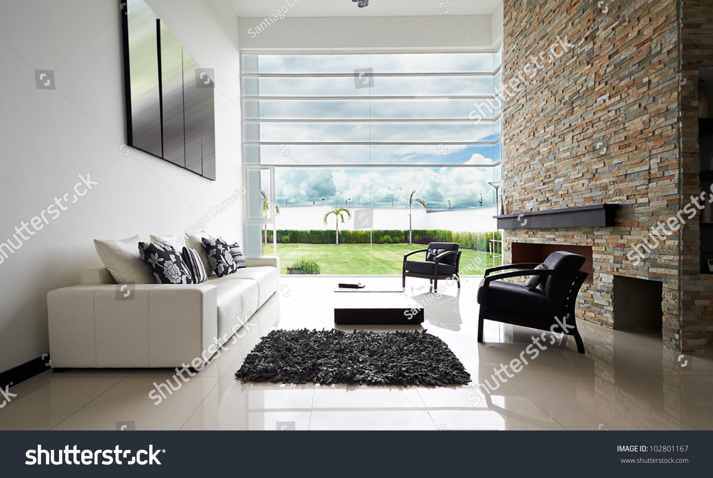 Interior Design Series Modern Living Room Stock Photo